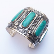 Silver Plated Cuff bracelet with green stones # 561