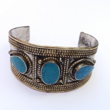 Casual tribal antique turquoise bracelet # 371
