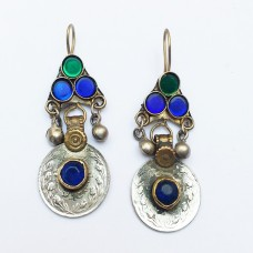 Antique drop old coin earring # 318