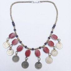 Gypsy antique red tribal necklace-238