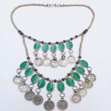 Afghan Kuchi Tribal Metal Coins Necklace # 981