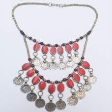 Afghan Kuchi Tribal Nomad Metal Coins Necklace # 982