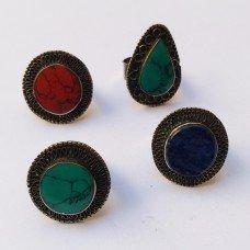 Afghan kuchi silver metal green stone ring # 281