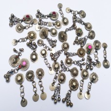 afghan kuchi metal button with bells-894