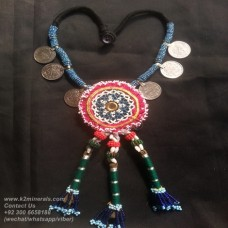 kuchi tribal coins beaded necklace-831