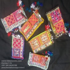 afghan embroidery mirror hand clutch-833
