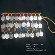 afghan embroidery mirror hand clutch-885
