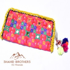 AFGHAN EMBROIDERY MIRROR HAND CLUTCH # 949